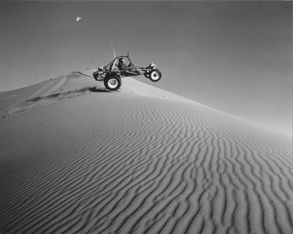 An off-road recreational vehicle, Little Sahara, Utah, 1976.