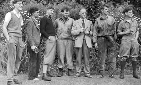 George Lowe (third from left) with Edmund Hillary (second from right) and other members of the Everest expedition in England in 1953. Photograph: AP