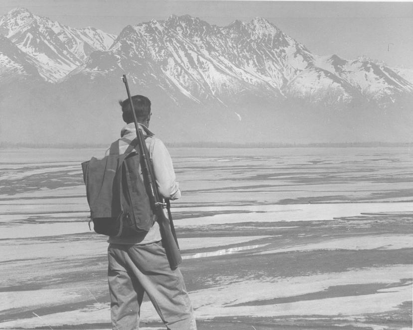U.S. Bureau of Land Management Dick McCoy overlooking the Knik River and the Chigach Mountains in Alaska.