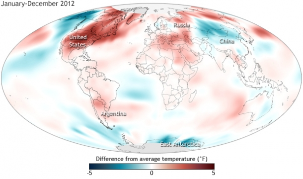 Surface temperatures in 2012 compared to the 1981-2010 average. NOAA map by Dan Pisut, NOAA Environmental Visualization Lab, based on based on Merged Land and Ocean Surface Temperature data from the National Climatic Data Center.